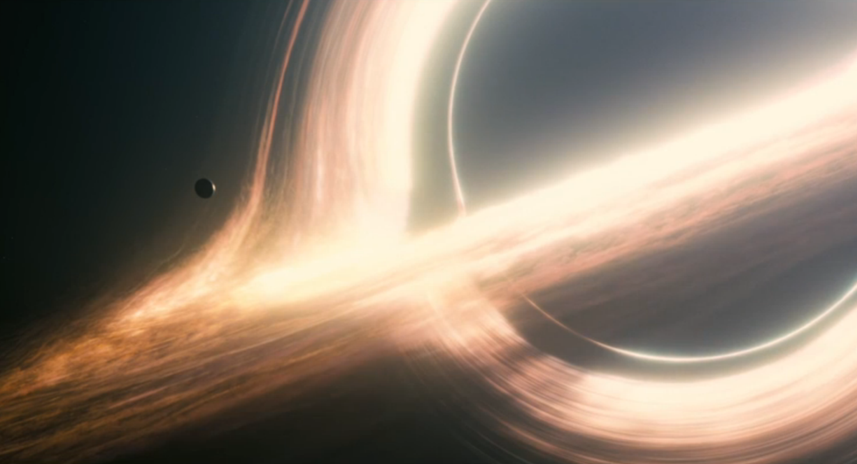 "Still from  ""Interstellar"" (by Christopher Nolan and Paramount Pictures) of a black hole"